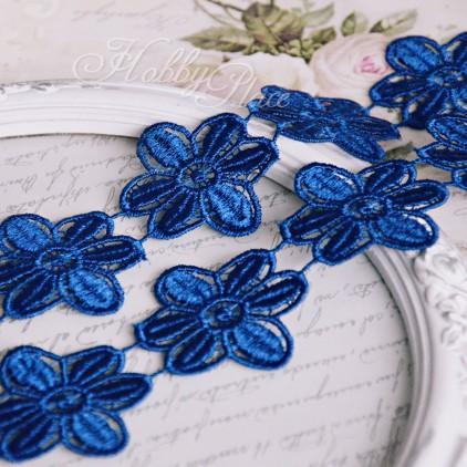 Guipure lace flowers - widh 4,5cm - dark blue - 1 meter