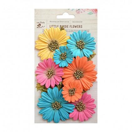Papierowe kwiaty do rękodzieła - Little Birdie - Fancy Daisies Vivid Palette - 11 kwiatków z listkami.