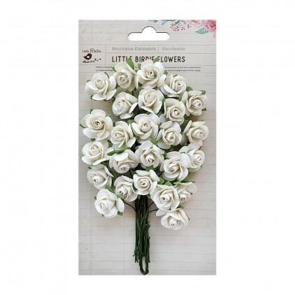 Papierowe kwiaty kremowe różyczki - Little Birdie - Catalina Charm - 25 kwiatków