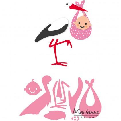 Wykrojniki bocian z niespodzianką - Marianne Design Collectables - COL1420