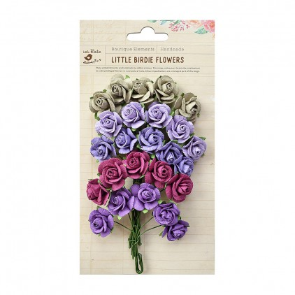 Paper flower set ,mix pink-violet - Little Birdie - Catalina Berry Punch  - 25 flowers