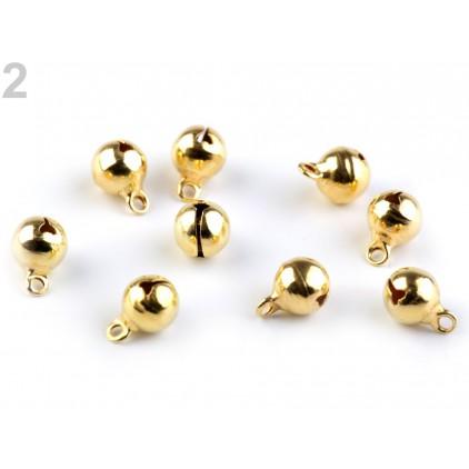 Złote metalowe dzwoneczki - 5 sztuk - 8 mm