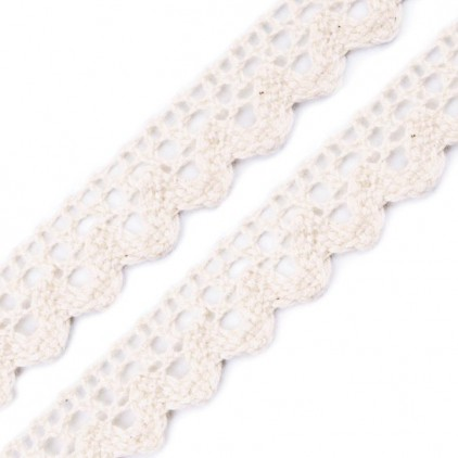 Cotton lace - widh 15mm - white vanilla - 1 meter