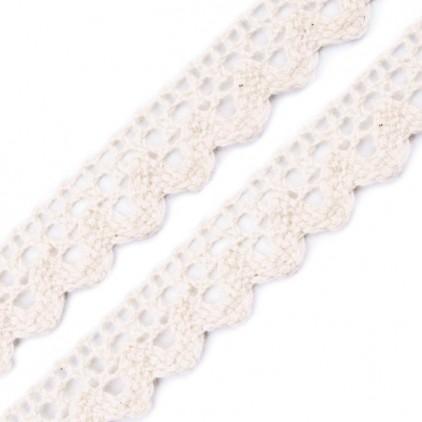 Koronka bawełniana - szerokość 15mm - waniliowa biel - 1 metr