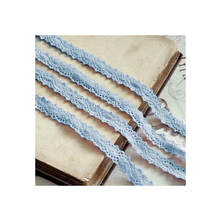 Koronka bawełniana - szerokość 12mm - niebieska - 1 metr