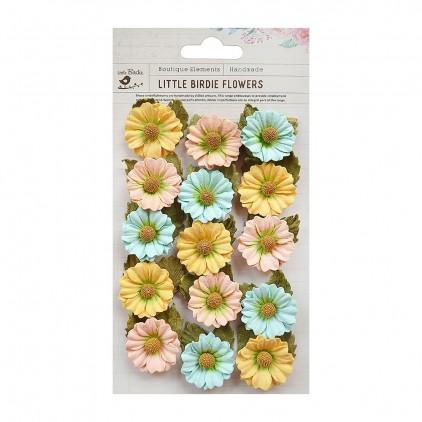 Papierowe kwiaty do rękodzieła - Little Birdie -  Mattina Pastel Palette- 15 kwiatków z listkami.