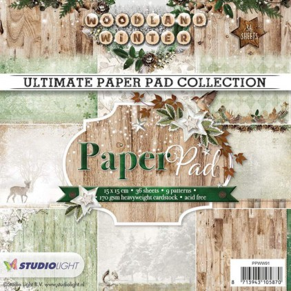 Mały bloczek papierów do scrapbookingu - Studio Light - Woodland Winter PPWW91