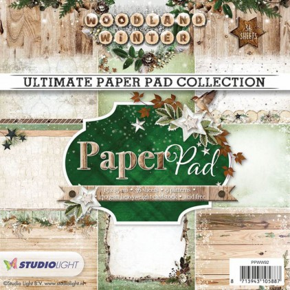 Mały bloczek papierów do scrapbookingu - Studio Light - Woodland Winter PPWW92