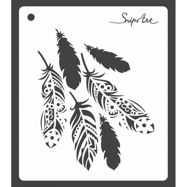 Maska, szablon - piórka 15x15- Snip Art
