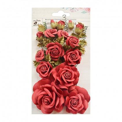 Papierowe kwiaty, czerwone róże, bukiet - Little Birdie -  Rosalind Sangria- 21 elementów.