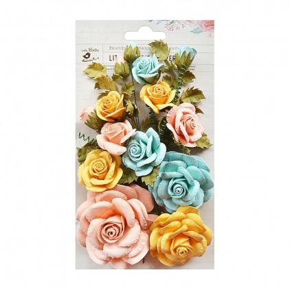 Papierowe kwiaty miks kolorów - Little Birdie -  Rosalind Pastel Palette- 21 elementów.