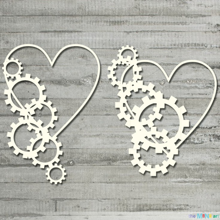 me&you - hearts with gears- Cardboard element - the MiNi art