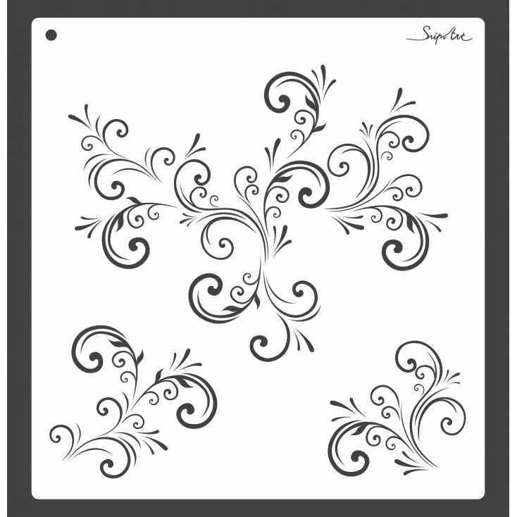 Mask, stencil, template - floral ornaments 30x30 - Snip Art