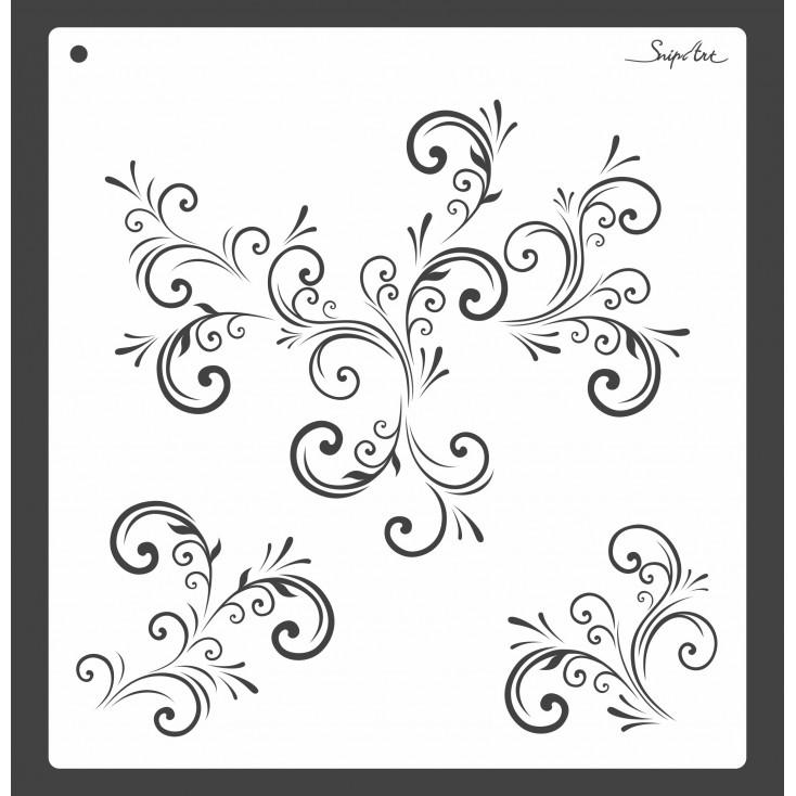 Maska, szablon - ornamenty roślinne 30x30 - Snip Art