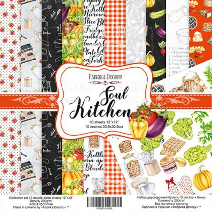Zestaw papierów do tworzenia kartek i scrapbookingu - Fabrika Decoru - Soul Kitchen