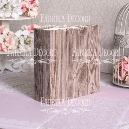 Baza albumowa kwadratowa- tekstura Dark oak with gold- 20x20x7 cm - Fabrika Decoru