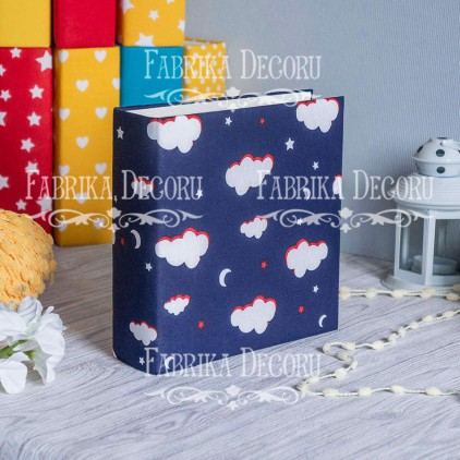 Album base square- Textile - Dark blue clouds - 20x20x7 cm - Fabrika Decoru