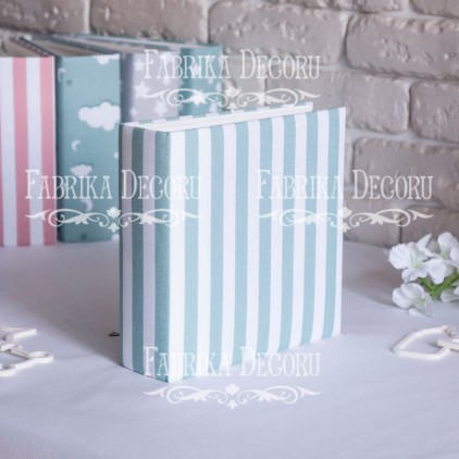 Album base square- Textile -Minty white stripes- 20x20x7 cm - Fabrika Decoru