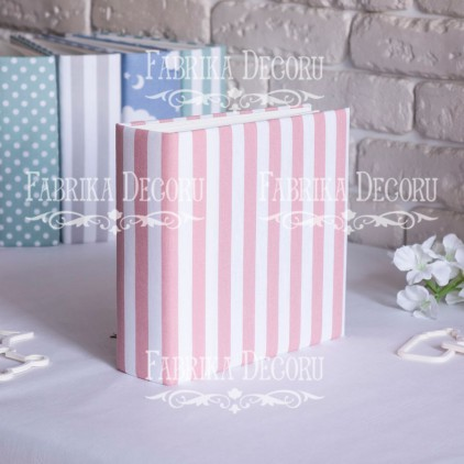 Album base square- Textile - White and pink stripes - 20x20x7 cm - Fabrika Decoru