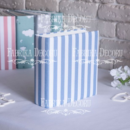 Album base square- Textile - White and blue stripes - 20x20x7 cm - Fabrika Decoru