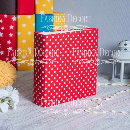 Baza albumowa kwadratowa- materiał - Peas in red- 20x20x7 cm - Fabrika Decoru
