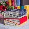 Album base square- Textile - Peas in red - 20x20x7 cm - Fabrika Decoru