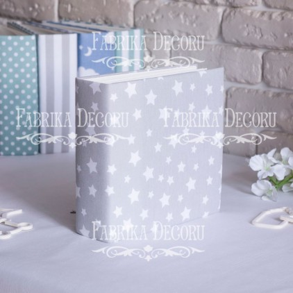 Album base square- Textile - Grey Stars - 20x20x7 cm - Fabrika Decoru
