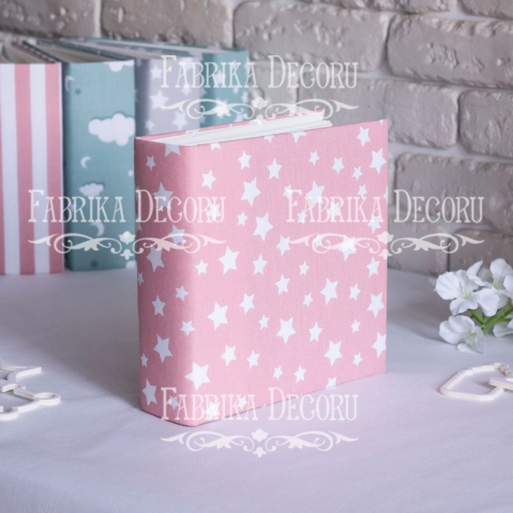 Album base square- Textile - Pink Stars - 20x20x7 cm - Fabrika Decoru