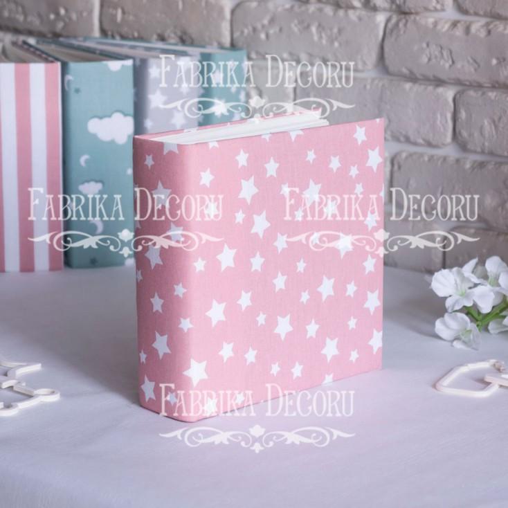 Baza albumowa kwadratowa- materiał - Pink Stars- 20x20x7 cm - Fabrika Decoru