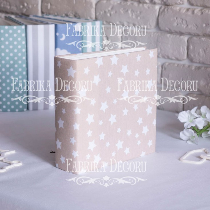 Album base square- Textile - Beige Stars - 20x20x7 cm - Fabrika Decoru