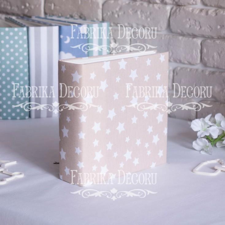 Baza albumowa kwadratowa- materiał - Beige Stars- 20x20x7 cm - Fabrika Decoru