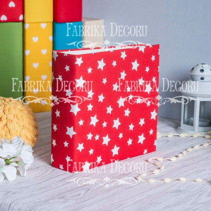 Album base square- Textile - Red Stars - 20x20x7 cm - Fabrika Decoru
