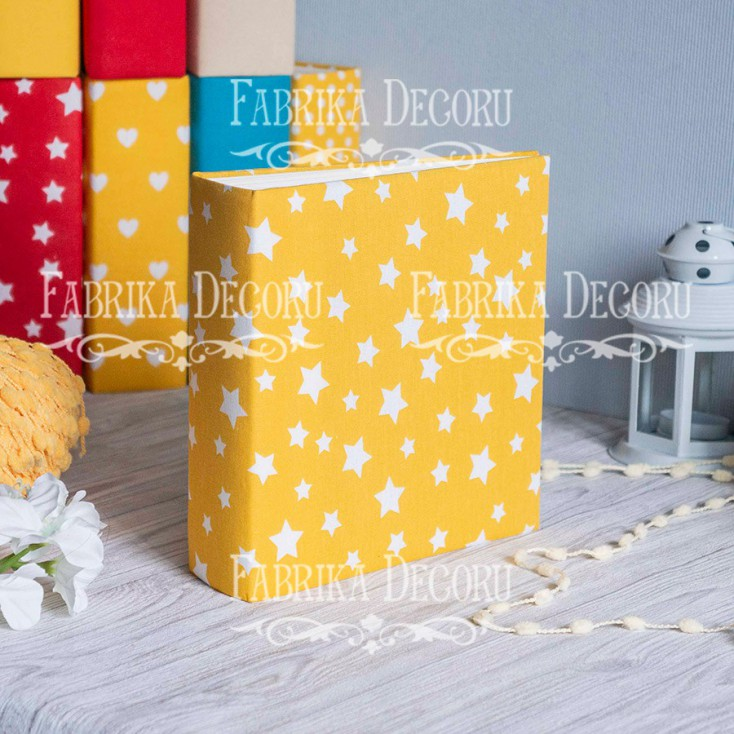 Album base square- Textile - Yellow Stars - 20x20x7 cm - Fabrika Decoru