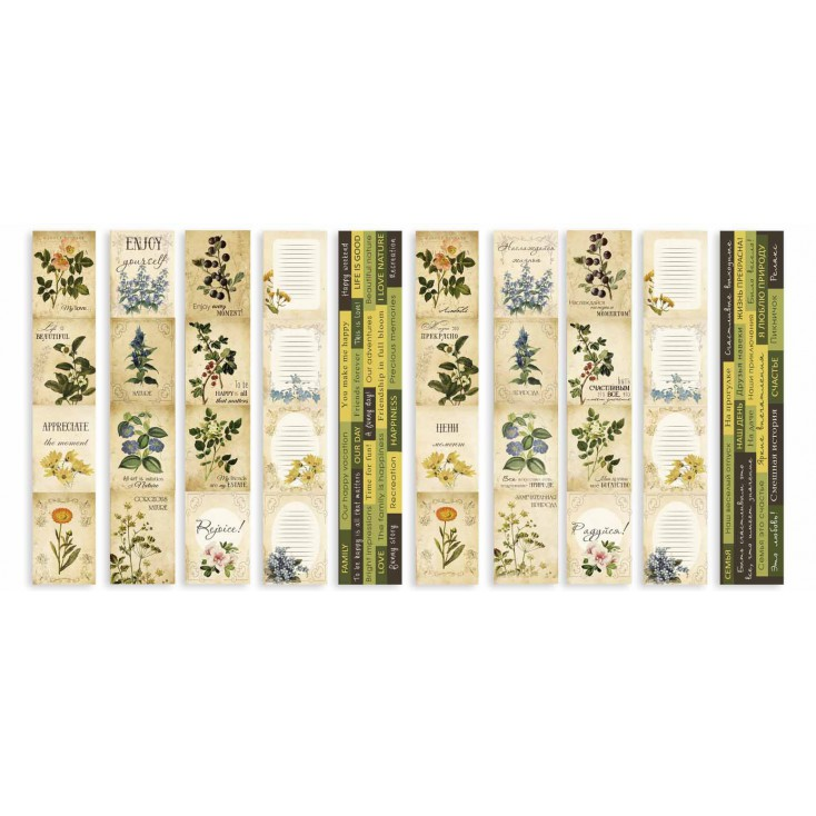Scrapbooking paper- Fabrika Decoru - Botany Summer -Pictures for cutting 5 strips