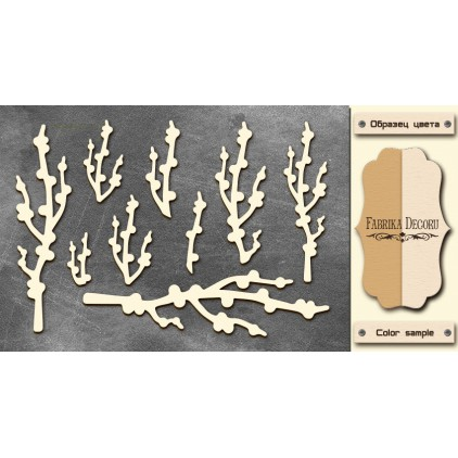 Set of cardboard - Chipboard - Fabrika Decoru - Twigs with buds-FDCH 45
