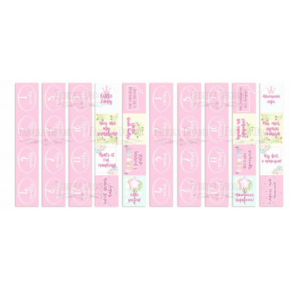 Scrapbooking paper- Fabrika Decoru - Puffy Fluffy GIRL -Pictures for cutting 5 strips