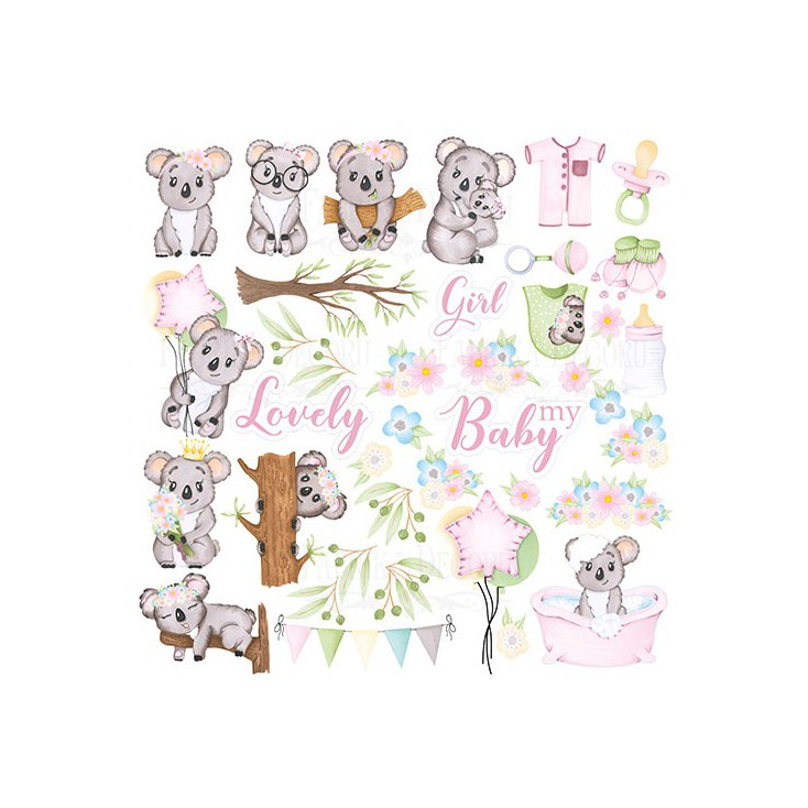 Papier do tworzenia kartek i scrapbookingu - Fabrika Decoru - Puffy Fluffy GIRL - Obrazki do wycinania