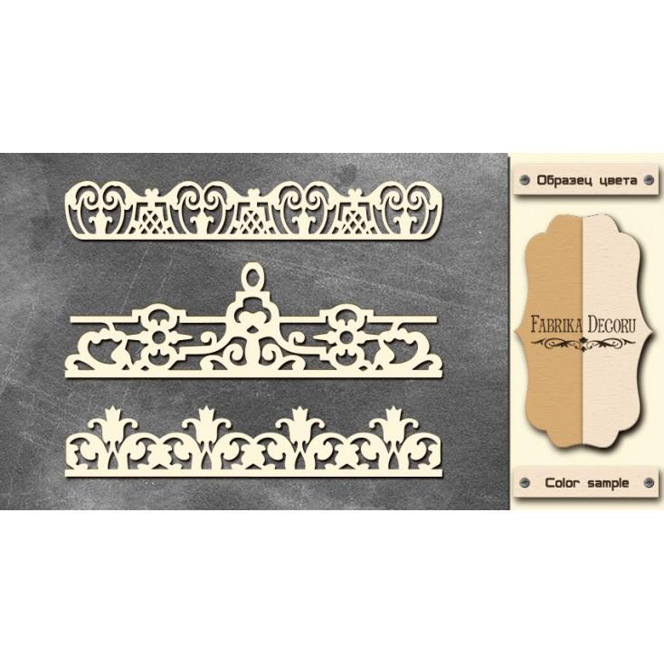Set of cardboard - Chipboard - Fabrika Decoru - Laces 3 - FDCH 096