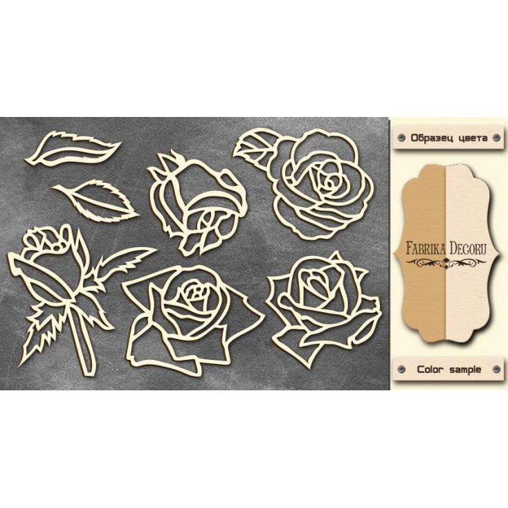 Set of cardboard - Chipboard - Fabrika Decoru - Roses - FDCH 027