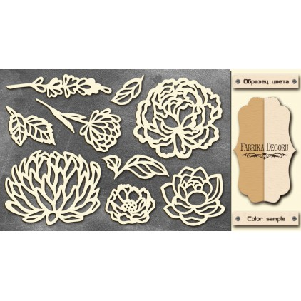 Set of cardboard - Chipboard - Fabrika Decoru- Flowers 01-FDCH 033