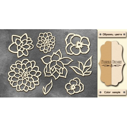 Set of cardboard - Chipboard - Fabrika Decoru- Flowers 02-FDCH 044