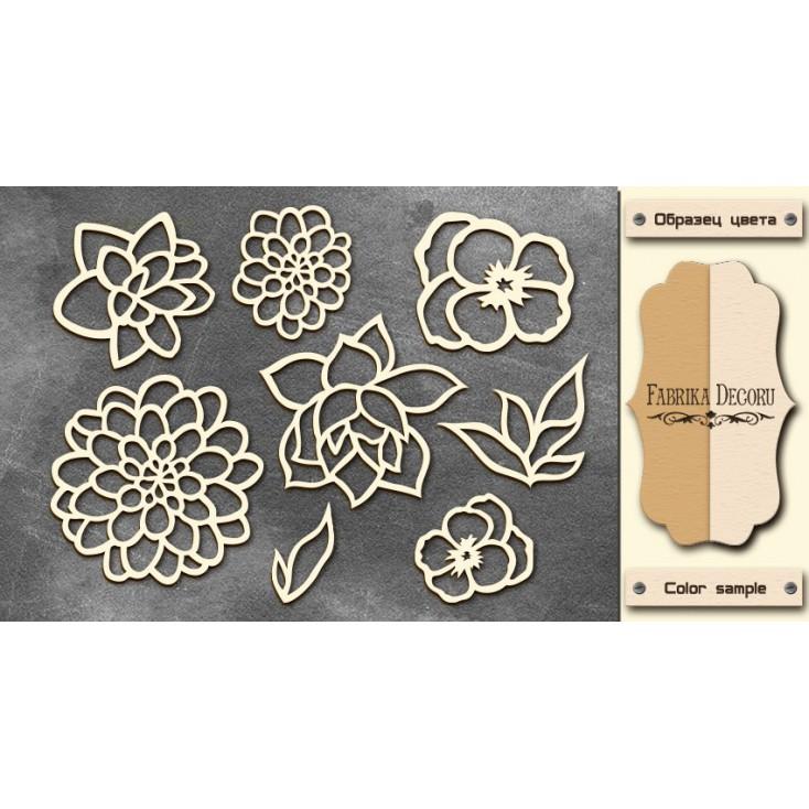 Set of cardboard - Chipboard - Fabrika Decoru- Flowers 02-FDCH 044