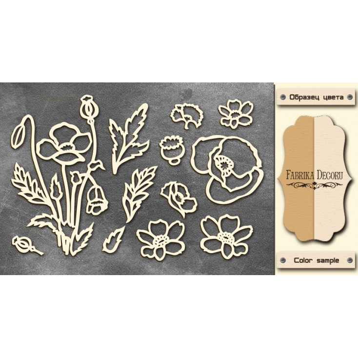 Set of cardboard - Chipboard - Fabrika Decoru--Wildflowers - FDCH 024