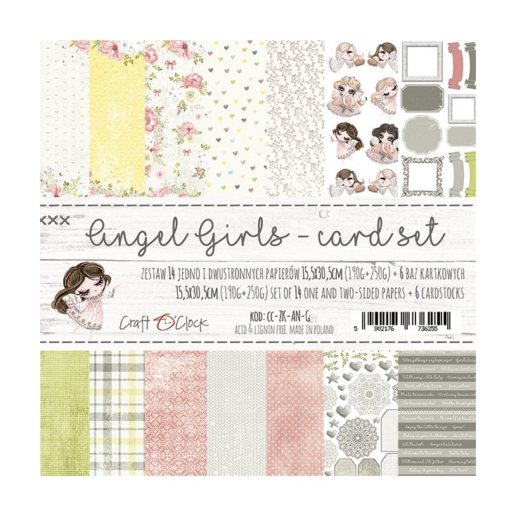 Set of cards papers - Craft O Clock - Angel Girls