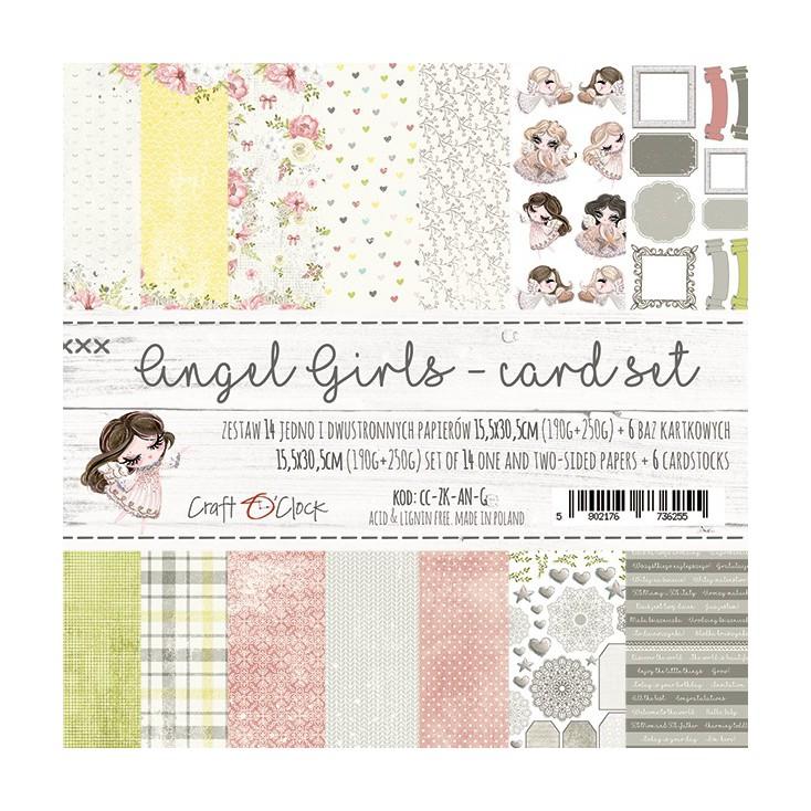 Zestaw papierów do tworzenia kartek- Craft O Clock - Angel Girls