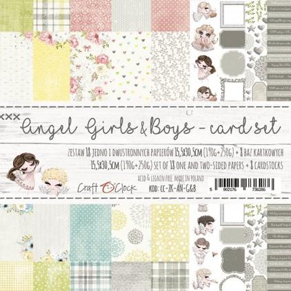 Zestaw papierów do tworzenia kartek- Craft O Clock - Angel Girls & Boys