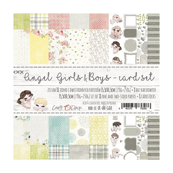 Set of cards papers - Craft O Clock - Angel Girls & Boys
