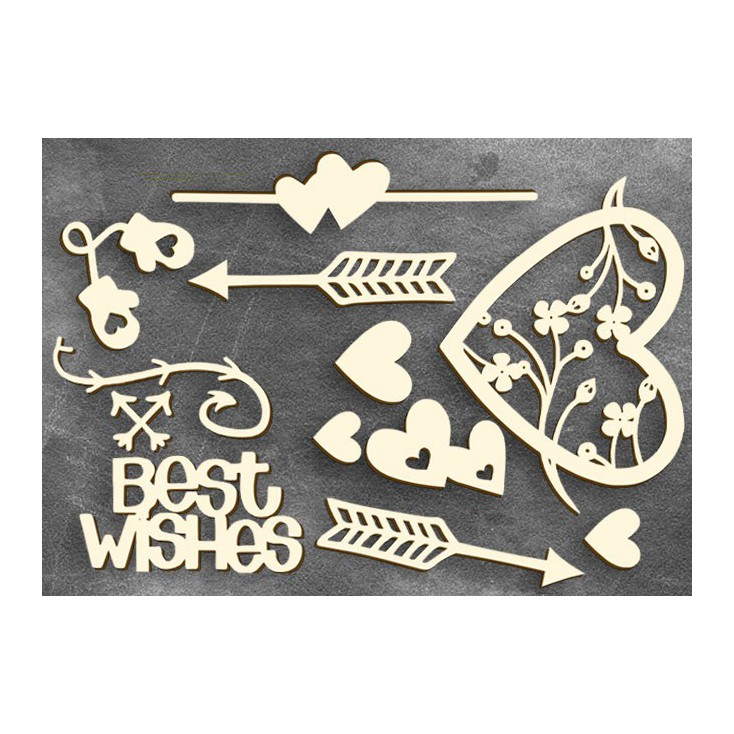 Set of cardboard - Chipboard - Fabrika Decoru- Heart affairs 1-FDCH 103