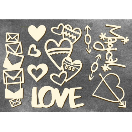 Set of cardboard - Chipboard - Fabrika Decoru- Heart affairs 3-FDCH 105