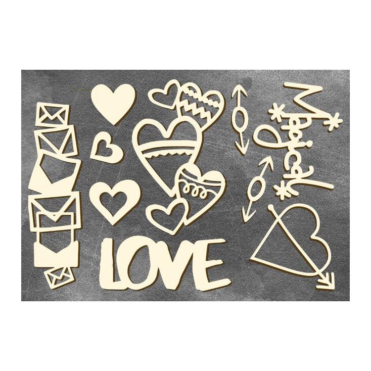Set of cardboard - Chipboard - Fabrika Decoru- Heart affairs 3-FDCH 105